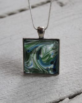 Painted Glass Pendant Necklace