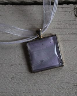 Pink & Grey Acrylic Paint Necklace (Square)