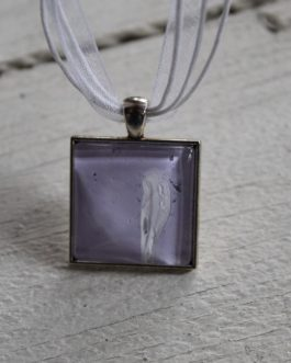 Pink, White & Grey Acrylic Paint Necklace (Square)