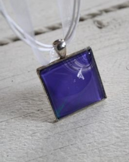 Purple, Teal & White Acrylic Paint Necklace