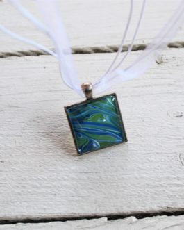 Blue, Green & White Acrylic Paint Necklace (Square)