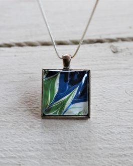 Blue, Green & White ZigZag Acrylic Paint Necklace (Square)
