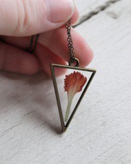 Carnation Triangle Necklace (Bronze)