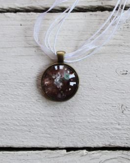 Green, White & Brown Acrylic Paint Necklace (Round)