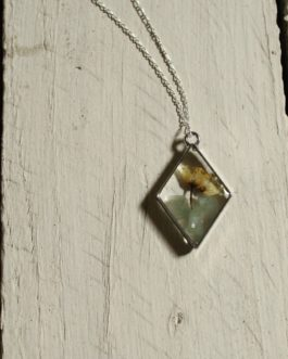 Green Aventurine and Yellow Flower Necklace