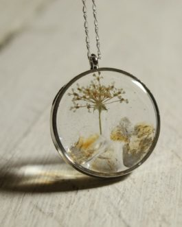 Citrine and Queen Anne's Lace Necklace (Round)