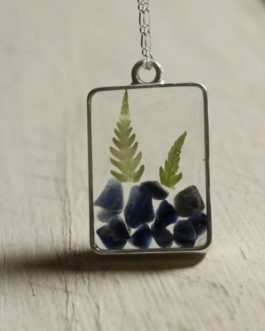 Blue Sodalite and Fern Necklace (Rectangle)