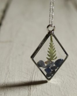 Blue Sodalite and Fern Necklace (Diamond)