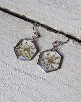 Queen Anne's Lace Hexagon Earrings