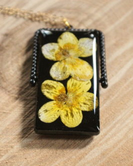 Yellow Buttercup / Queen Anne's Lace w/ Gold Leaf Necklace